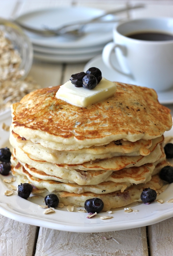 http://damndelicious.net/2012/10/18/blueberry-oatmeal-yogurt-pancakes/